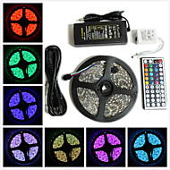 Waterproof 5M 300X5050 SMD RGB LED Strip Light and 44Key Remote Controller and 6A US EU UK AU Power Supply (AC110-240V)