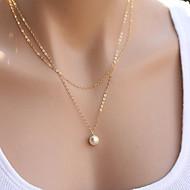 Dame Halskædevedhæng Perlehalskæde Smykker Perle Legering Mode minimalistisk stil Dobbeltlags kostume smykker Smykker Til Fest Daglig