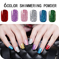 6PCS Shimmering Powder Mixed Pure Colour Full Nail Stickers
