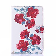 Red Peony Pattern PU Leather Full Body Case with Stand for iPad mini 1/2/3
