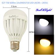 5W / 7W E26/E27 Lampadine globo LED B 14 SMD 5730 600 lm Bianco caldo / Luce fredda Decorativo AC 85-265 V 1 pezzo