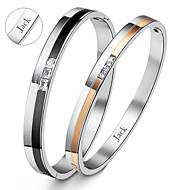 presentes do dia dos namorados amantes de aço de titânio de ouro jóia personalizada do casal / pulseiras pretas (um par)