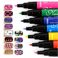 Manicure Painting Brushwork Art Pen DIY Nail Rainbow Color Set (Red/Rose Red/Orange/Yellow/Green/Blue/Purple) 7Pcs