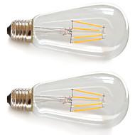 Lampadine LED a incandescenza 4pcs Filament COB COB Kakanuo ST64 E26/E27 4 W Decorativo 360lm LM Bianco caldo 2 pezzi AC 85-265 V