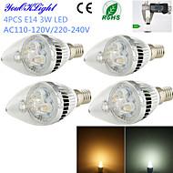 3W E14 Luces LED en Vela C35 3 LED de Alta Potencia 260 lm Blanco Cálido / Blanco Fresco Decorativa AC 100-240 / AC 110-130 V 4 piezas