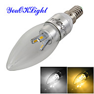 YouOKLight® Dimmable E14 3W 300lm  6-SMD 5630  Warm White/Cold White LED Candle Lamp- Silver (AC110-120V/220-240V)