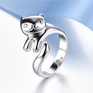 Κρίκοι Γάμου / Πάρτι / Καθημερινά Κοσμήματα Ασήμι Στερλίνας Γυναικεία / Άντρες / Ζεύγος Δαχτυλίδια Ζευγαριού 1pc,Ρυθμιζόμενο Ασημί