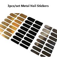 3pcs/set Metal Nail Stickers