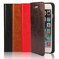 ekte skinn gal hest flip dekselet wallet card slot tilfellet med stativ for iPhone 6 (assorterte farger)
