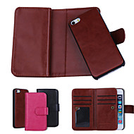 ensfargede ekte skinn lommebok tilfeller med seks kortspor for iPhone 5 / iPhone 5s pluss (assorterte farger)