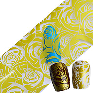 100cmx4cm NEW Foils Polish Designs Yellow Rose Beauty Stickers Nail Art Decals for Salon Express Nail Art Adhesive