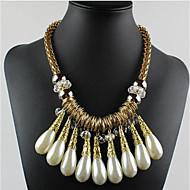 女性 ステートメントネックレス パールネックレス クリスタル 真珠 合金 ドロップ ファッション スクリーンカラー ジュエリー
