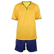 남성의 - 통기성 / 수분 투과율 / 빠른 드라이 / wicking / 부드러움 - 짧은 소매 - 등산 / 레저 스포츠 / 축구 - 탑스 / 하단 ( 옐로우 )