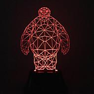visuell 3d baymax färgskiftande ledde dekoration usb bordslampa färgrik gåva nattlampa