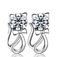 Γυναικεία Κουμπωτά Σκουλαρίκια απομίμηση διαμαντιών Μοντέρνα κοσμήματα πολυτελείας κοστούμι κοστουμιών Μαργαριτάρι Ασήμι Στερλίνας