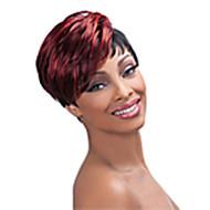 Black Pruik synthetisch Zonder kap Pruiken Recht Kort Rood Haar