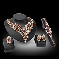 απομίμηση διαμαντιών Love κοσμήματα πολυτελείας Πετράδι Μαργαριτάρι 18K χρυσό απομίμηση διαμαντιών Μπλε Χρυσαφί1 Κολιέ 1 Ζευγάρι