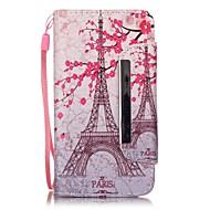 For LG etui Kortholder Pung Med stativ Flip Mønster Etui Heldækkende Etui Eiffeltårnet Hårdt Kunstlæder for LG LG Leon / LG C40 H340N