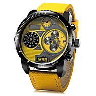 JUBAOLI 男性 軍用腕時計 リストウォッチ クォーツ レザー バンド ブラック ブルー レッド 黄色