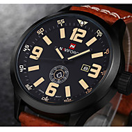 NAVIFORCE Muškarci Ručni satovi s mehanizmom za navijanje Kvarc Japanski kvarc Kalendar Koža Grupa Luksuzno Crna Smeđa Crn Braon Crvena