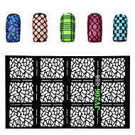 2016 New 1pcs Nail Vinyls Irregular Grid Pattern Stamping Nail Art Tips Manicure Stencil Nail Hollow Stickers Guide