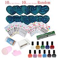 36pcs / set Nagelplatten Nagelkunstpoliermittel-Vorlagen (Nagelplatten + Nagel Aufkleber random) Stanzen