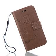Para Samsung Galaxy Capinhas Porta-Cartão / Carteira / Com Suporte / Flip / Com Relevo Capinha Corpo Inteiro Capinha Borboleta Couro PU