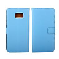 Για Samsung Galaxy Θήκη Πορτοφόλι / Θήκη καρτών / με βάση στήριξης / Ανοιγόμενη tok Πλήρης κάλυψη tok Μονόχρωμη Γνήσιο δέρμα SamsungS6