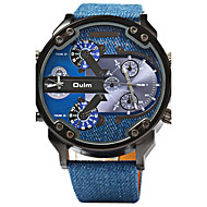 Oulm Herren Sportuhr Militäruhr Duale Zeitzonen Quartz Leder Band Cool Luxuriös Blau