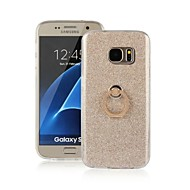 For Samsung Galaxy S7 Edge Med stativ Ringholder Etui Bagcover Etui Glitterskin TPU for Samsung S7 edge S7 S6 edge S6 S5 S3