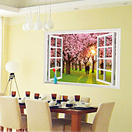3D Fake Window Cherry Tree Wall Stickers