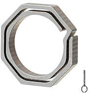 フラ八角形のチタン合金キーリング - シャンパン+グレー(小サイズ)