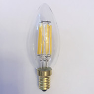 1 pcs kwb E14 5W / 6W 6 COB 600 lm Warm White C35 edison Vintage LED Filament Bulbs AC 220-240 V