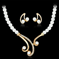 Damen Schmuckset Halskette / Ohrringe Luxus-Schmuck Modeschmuck Perle Künstliche Perle Strass vergoldet Diamantimitate Aleación