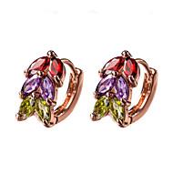 Stangøreringe Store øreringe Klipøreringe Kvadratisk Zirconium Zirkonium Kvadratisk Zirconium Fødselssten Rose Guld SmykkerBryllup Fest