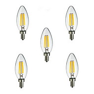 5pcs HRY® E14 4W 400LM Warm/Cool White 360 Degree Edison Filament Light LED Candle Bulb(85-265V)