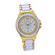 Γυναικεία Μοδάτο Ρολόι Προσομοίωσης Ρόμβος Ρολόι Χαλαζίας απομίμηση διαμαντιών Κεραμικό Μπάντα Πολύχρωμο 1# Άσπρο/Χρυσαφί