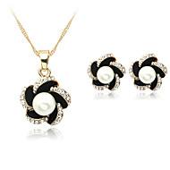 Damen Schmuckset Halskette / Ohrringe Modeschmuck Perle Künstliche Perle Strass versilbert Aleación Halsketten Ohrringe Für Hochzeit