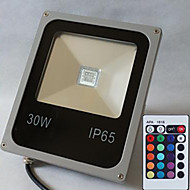 30W LED Floodlight 1 High Power LED 2400 lm RGB Remote-Controlled AC 85-265 V