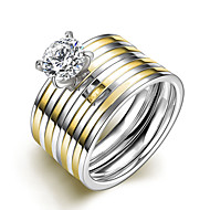 Δαχτυλίδια Ζευγαριού Cubic Zirconia Ζιρκονίτης Cubic Zirconia Round Shape Μοντέρνα Κοσμήματα Γάμου Πάρτι Καθημερινά Causal 1set