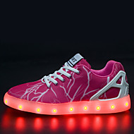 Women's  Led lighting Shoes Tulle Flat Heel Comfort Fashion Sneakers Outdoor / Athletic / Casual Fuchsia