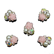 10pcs   Pearl Pink Rose Flower 3D Rhinestone DIY Accessories Nail Art Decoration