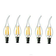 E14 LED gyertyaizzók CA35 6 COB 600 lm Meleg fehér Tompítható AC 220-240 V 5 db.