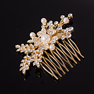 zilver / goud kristallen parel bladvorm haren kammen voor dame huwelijksfeest