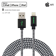 MFI 2M(6ft) Braided Lightning Cable USB Sync and Charge for Apple iPhone 7 6s Plus SE 5s/ iPad Air/Mini