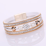 Dames Armbanden met ketting en sluiting Wikkelarmbanden Vriendschap Modieus Meerlaags Bruids ElegantLeder Strass Gesimuleerde diamant