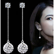 Women 925 Fine Silver Pearl Tassl Drop Zircon Earrings for Wedding Party