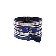 Dames Bedelarmbanden Wikkelarmbanden Lederen armbanden Kwasten Modieus Bohemia Style Luxe SieradenParel Kristal Leder Acryl Hars Strass