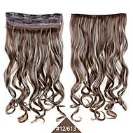synthetische clip in haarstukjes 24inch 60cm krullend golvend haar extensions # 12/613 gemengde kleur hittebestendig