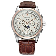 FORSINING® Men's Auto-Mechanical Six Pointers Calendar Rose Gold Case Leather Band Fashion Wrist Watch (Assorted Colors) Cool Watch Unique Watch